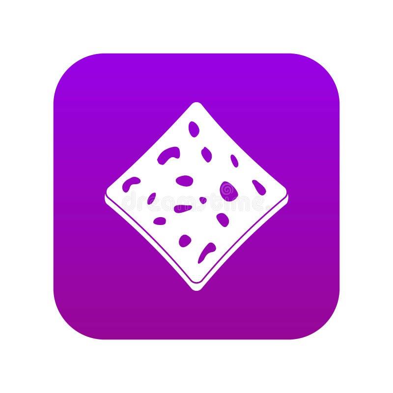 Tofu fresh block icon digital purple. For any design isolated on white vector illustration stock illustration