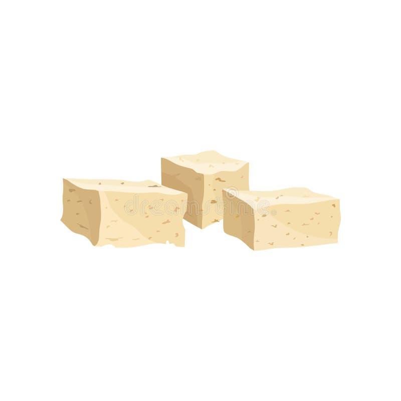 Tofu kaas, gezonde voedingvoedsel, veganist bron van proteïne vectorillustratie op een witte achtergrond stock illustratie