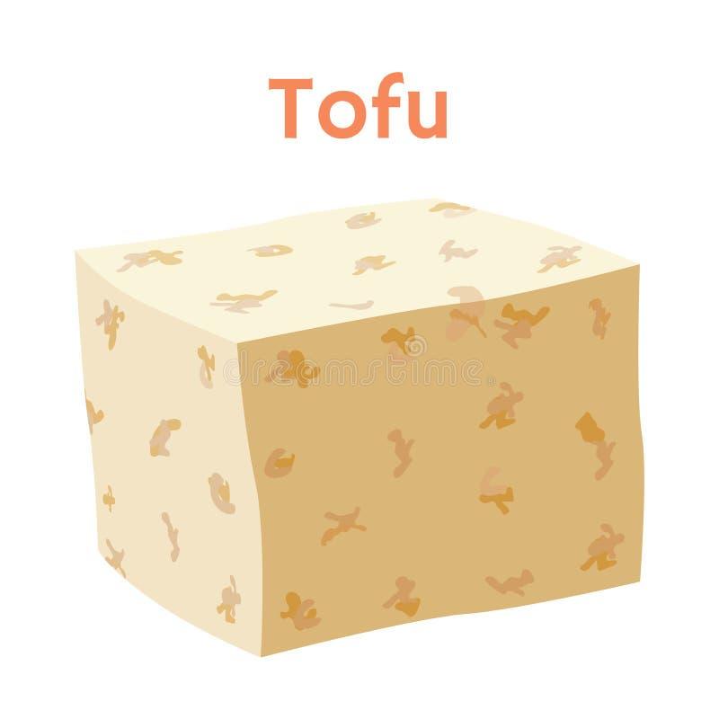 Tofu kaas, vegetarisch product Beeldverhaal vlakke stijl Vector illustratie vector illustratie
