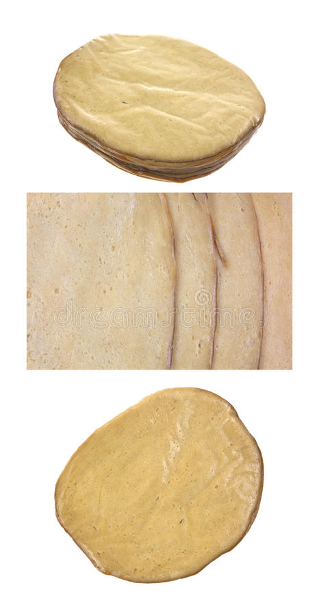Tofu meatless turkey luncheon meat. Two images of several slices of tofu meatless turkey luncheon meat on a white background plus one close veiw royalty free stock images