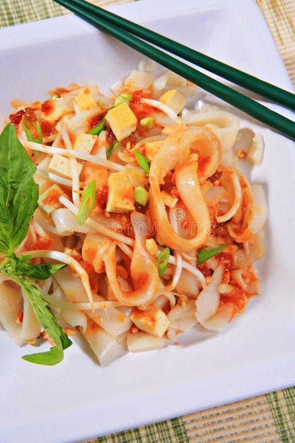 Tofu pad thai. Vegetarian dish with peanuts, green onion; basil, bean sprouts stock photography