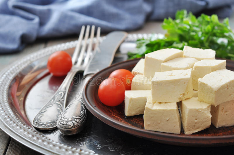 Download Tofu on plate stock image. Image of gastronomy, cooked - 35826799
