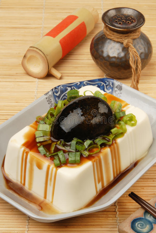 Tofu with preserved eggs stock photo