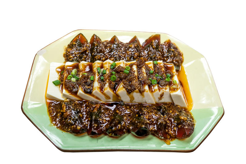 Tofu with Preserved Eggs stock image