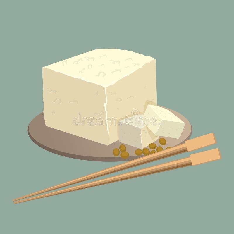 Tofu ser na talerzu z chopsticks odizolowywającymi Zdrowy chiński jedzenie ilustracja wektor