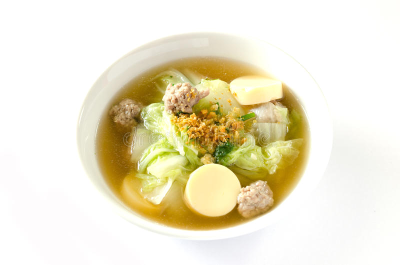 Tofu soep met varkensvlees stock afbeeldingen