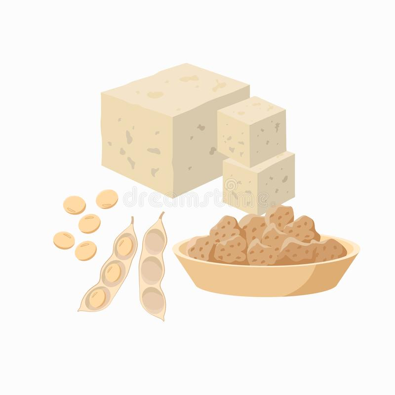 Tofu and soy bean pod with soy seeds and soy meat in the plate isolated on white background. Vector illustration in flat royalty free illustration