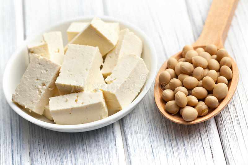 Tofu and soy beans stock photos
