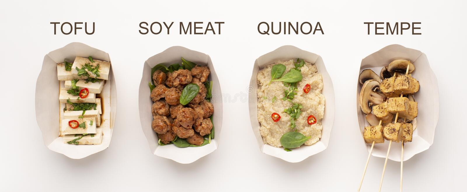 Tofu, soy meat, quinoa and tempe served in paper plates. Meatless menu. Tofu, soy meat, quinoa and tempe served in paper plates, panorama stock photography