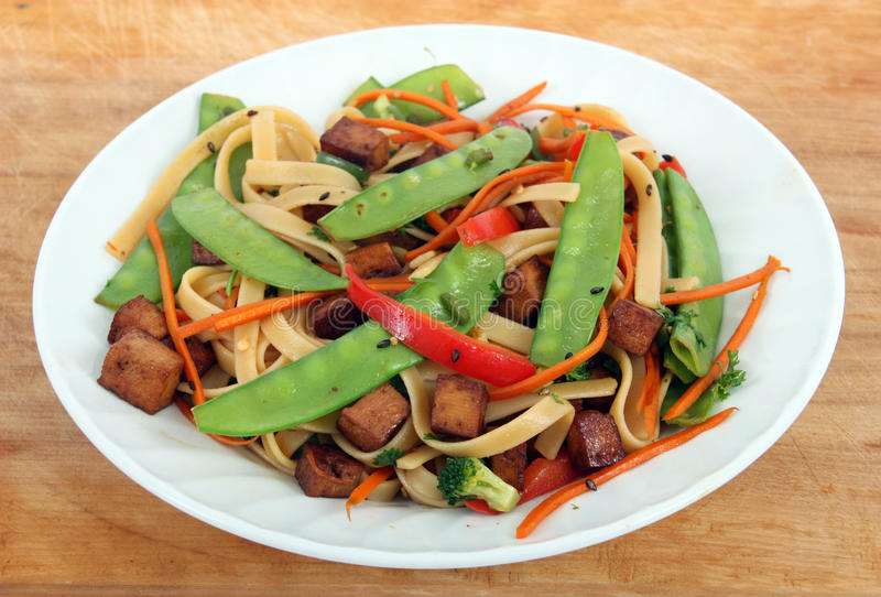 Tofu stir fry. Dishes royalty free stock photography
