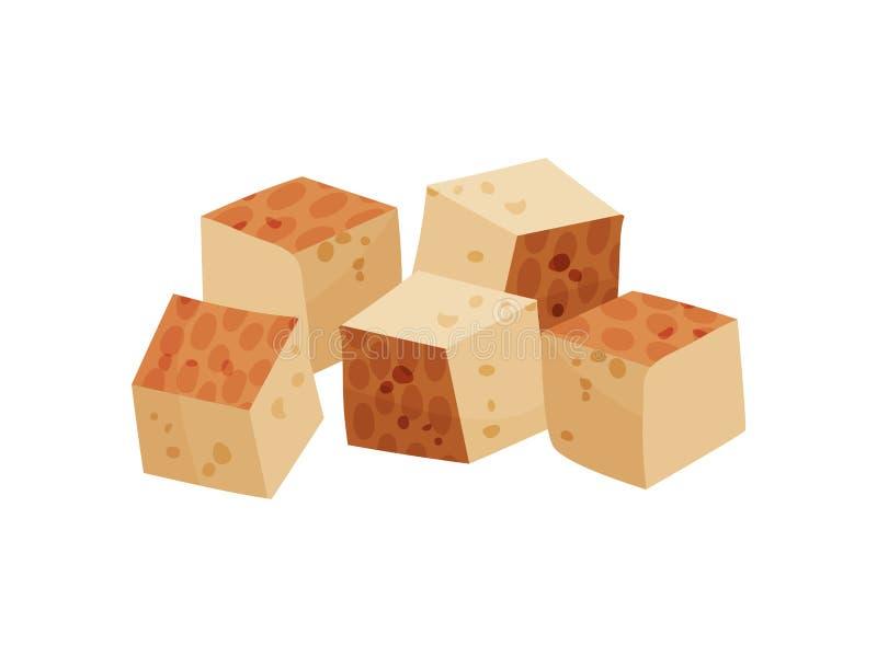Tofu su fondo bianco Illustrazione piana di vettore illustrazione di stock