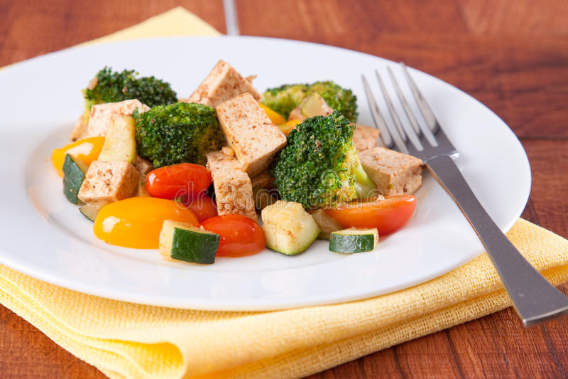 Tofu van de veganist Maaltijd royalty-vrije stock fotografie