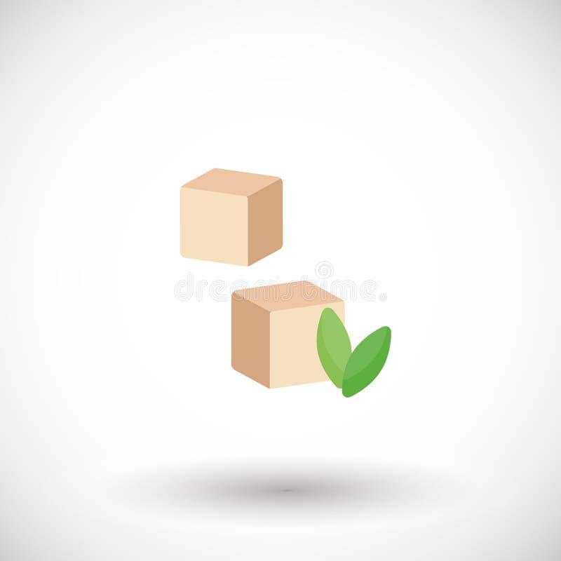 Tofu vlak vectorpictogram, het vlakke ontwerp van de sojakaas vector illustratie