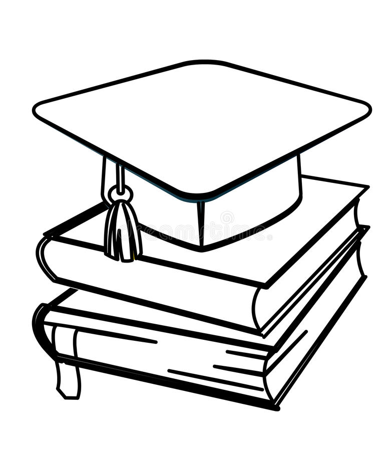Toga hat and books coloring page stock illustration
