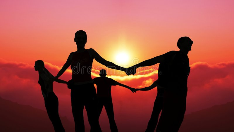 Together. Friends together on sunset background