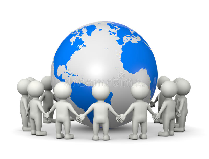 Together Around the World. White 3D Characters Holding Hands Arranged in a Circle Around the World Illustration on White Background stock illustration