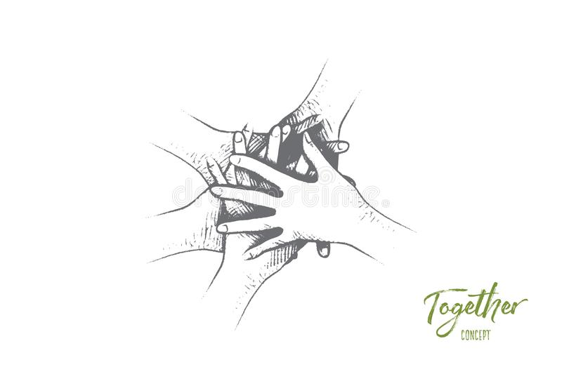 Together concept. Hand drawn isolated vector. royalty free illustration