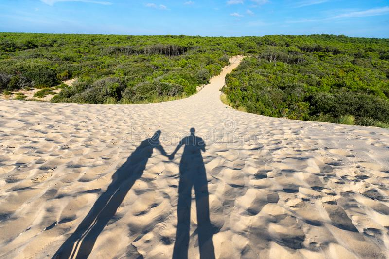 Together and forever in the dunes. Shadows of man and woman standing together in the sand dunes at sunset, near the entrance of the path leading to the wild pine royalty free stock photography