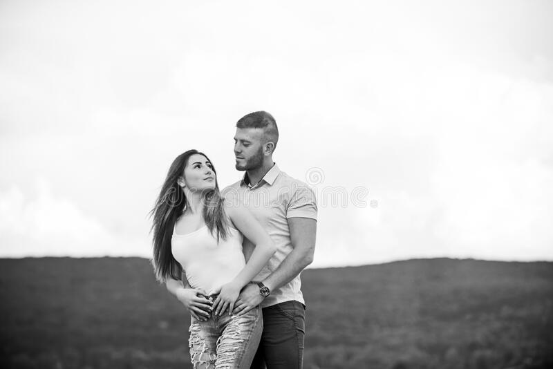 Together forever we two. Love story. Romantic relations. Cute and sweet relationship. Couple in love. Couple goals. Concept. Man and women cuddle nature royalty free stock images