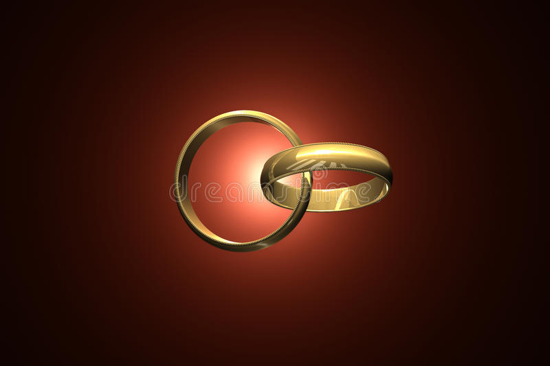 Together forever. Two wedding ring on a dark art background. 3D-image royalty free illustration
