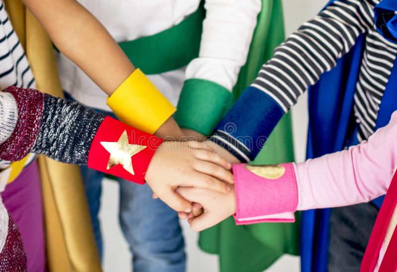 Together Kids Superhero Hands Concept royalty free stock photography
