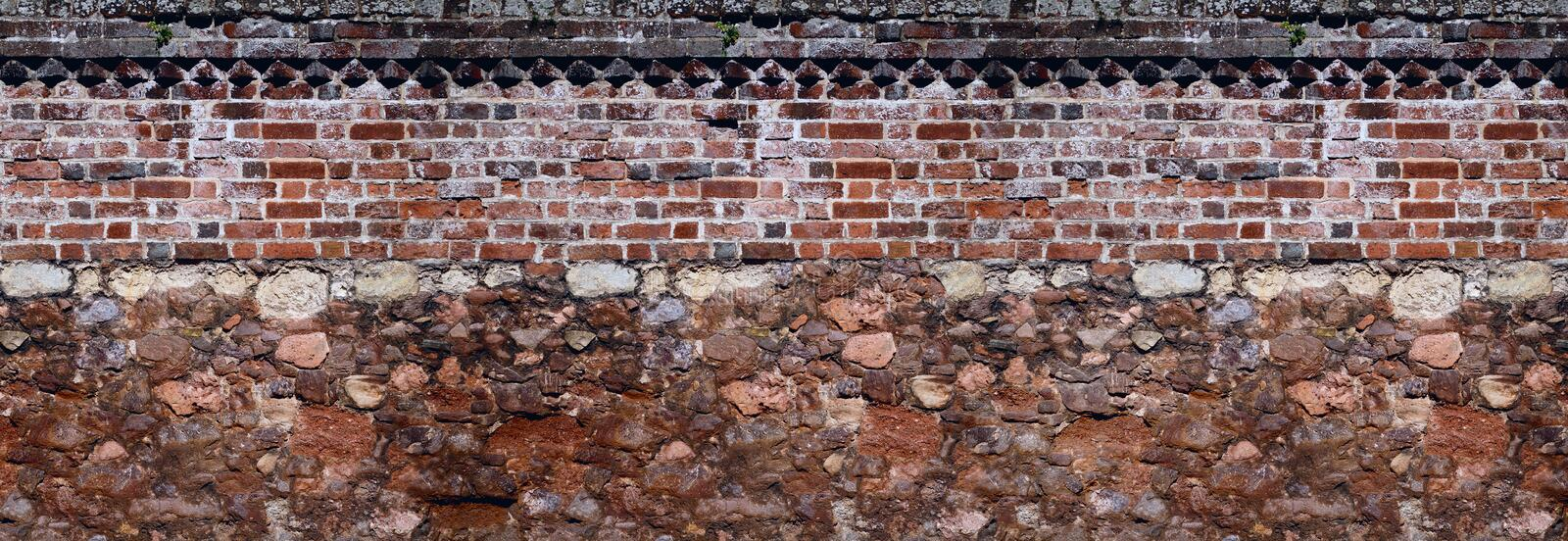Together old masonry and brickwork walls. Background royalty free stock photo