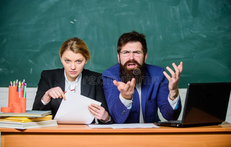 Together since school. paper work. office life. back to school. formal education. business couple use laptop and. Document. teacher and student on exam royalty free stock photos