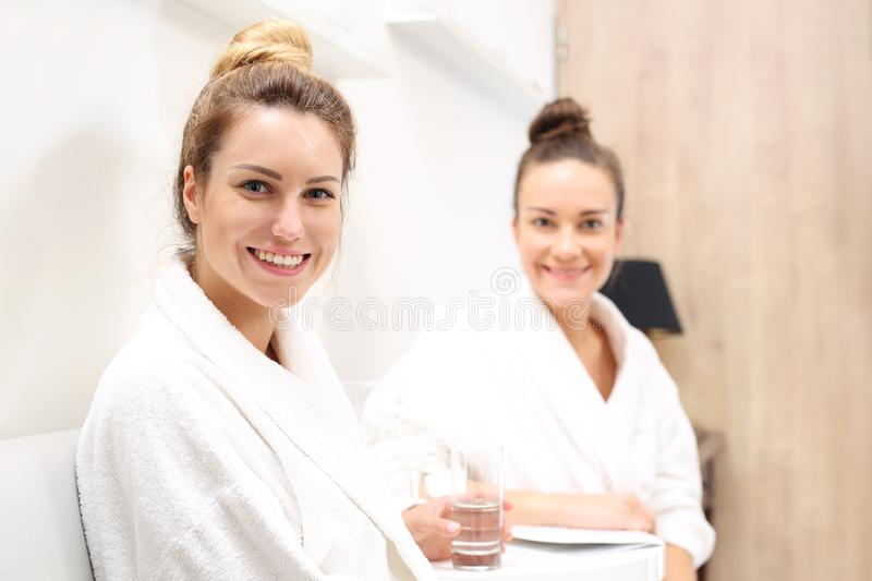 Together at the spa. A friend in the aesthetic medicine clinic. royalty free stock images