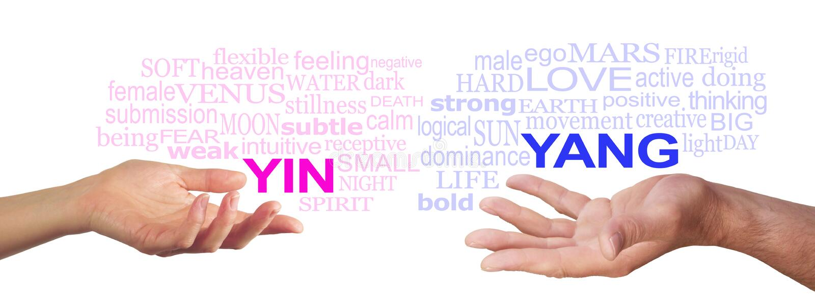 Together we are Stronger. Female hand with open palm gesturing to a pink YIN word cloud, opposite a male open palm with a blue YANG word cloud floating above on royalty free stock image