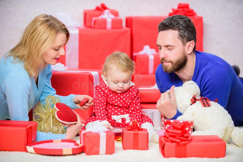 Together on valentines day. Lovely family celebrating valentines day. Happy be parents. Perfect celebration. Family stock images