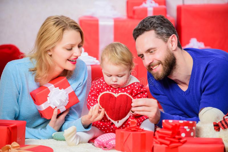 Together on valentines day. Lovely family celebrating valentines day. Happy parents. Family celebrate anniversary. Day stock photography