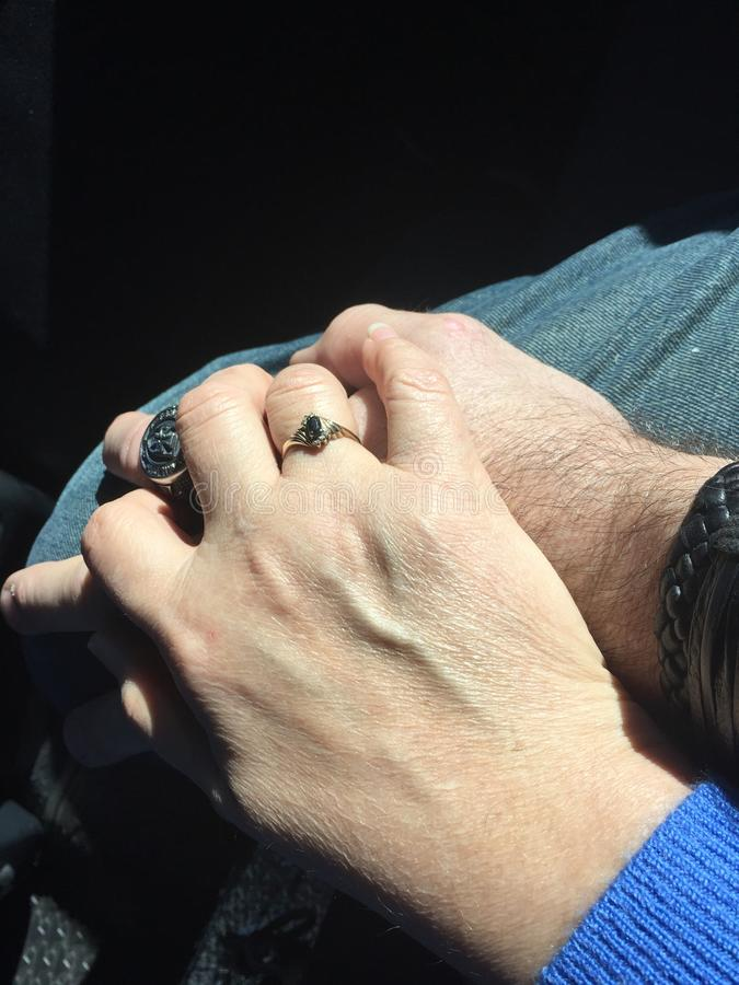 Holding Hands after 25 years together royalty free stock photography