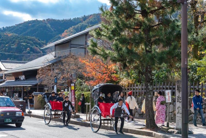 Togetsu-kyo桥梁Aera在Arashiyama区的 库存照片