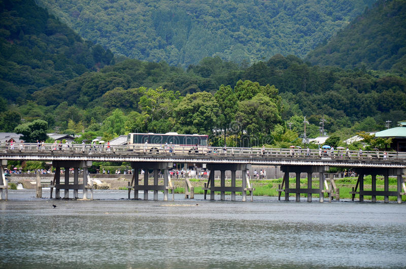 Togetsukyo Bridge across the Oi River in Arashiyama royalty free stock photography