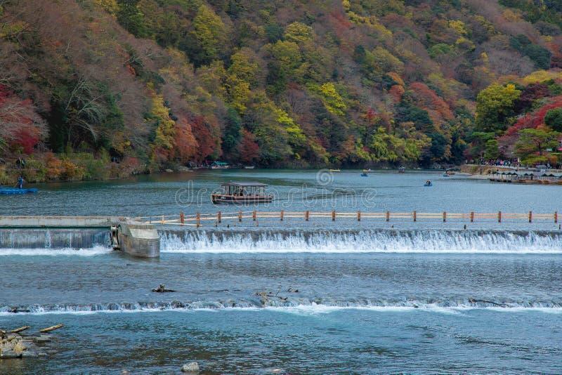 ฺBoat around Togetsukyo Bridge in Arashiyama stock photo