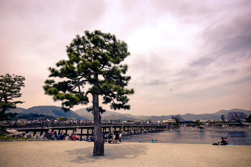 Togetsukyo Bridge famous place at Arashiyama, Kyoto, Japan. stock photography