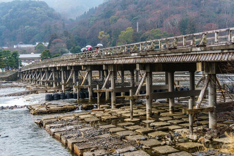 Togetsukyo bridge with Katsura River in Winter royalty free stock images