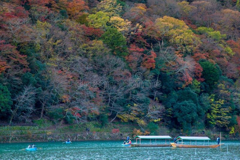 Togetsukyobrug op Arashiyama-gebied stock foto's