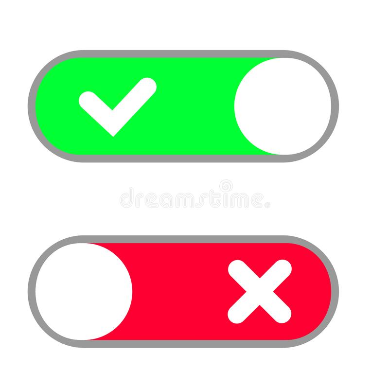 Toggle button switch off or turn on slider icons for vector flat web. UI toggle button icon, vector illustration stock illustration