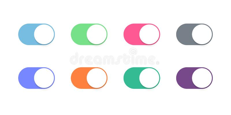 Toggle button switch slider web UI vector icons stock illustration
