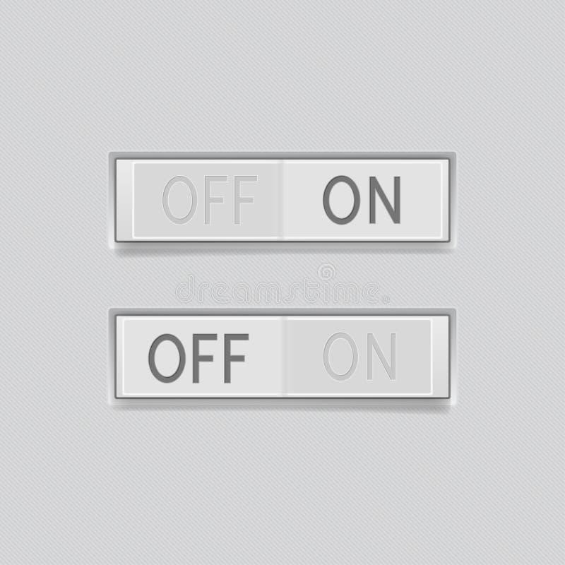 Toggle przełącznikowi guziki Z Przerwami 3d prostokąta szarość pchnięcia ikony royalty ilustracja