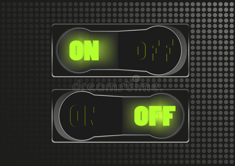 Toggle switch. On and off royalty free illustration