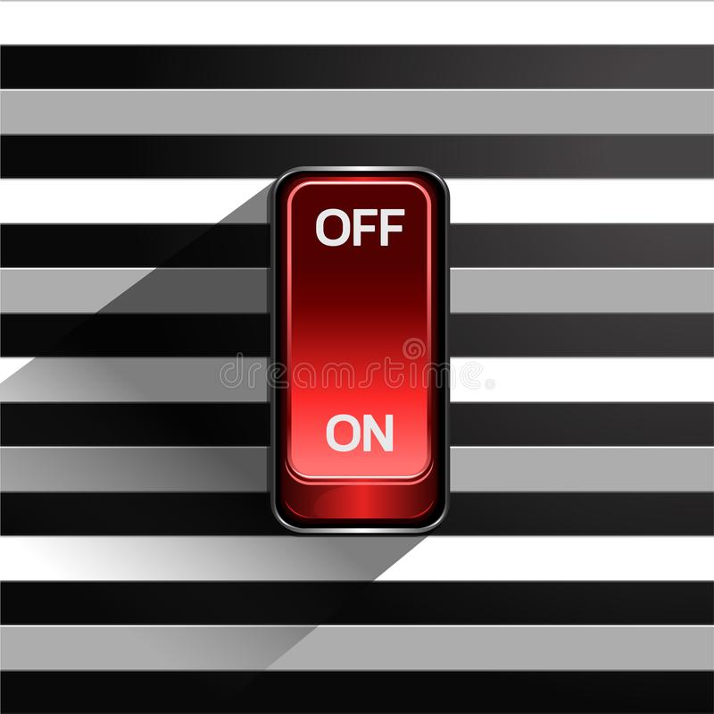 Toggle switch on black and white background stock illustration