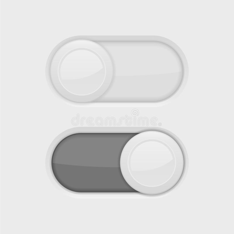 Toggle switch buttons. Toggle switch interface buttons. Vector 3d illustration vector illustration