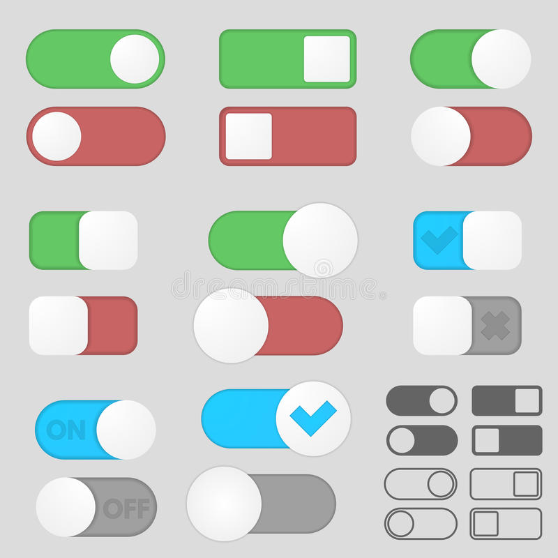 Toggle switch buttons pack. Toggle switch button off on pack. Interface. Different variations royalty free illustration