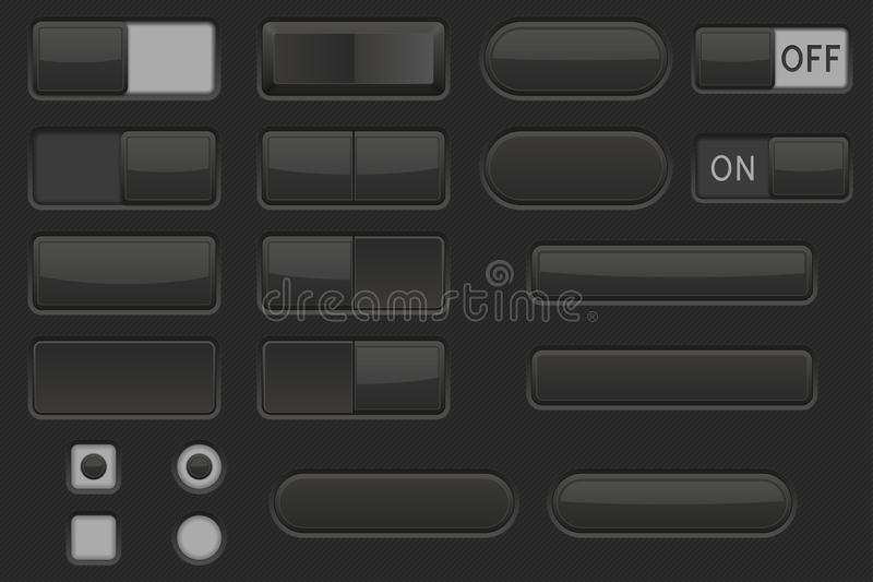 Toggle switch buttons and Push buttons. Black elements royalty free illustration