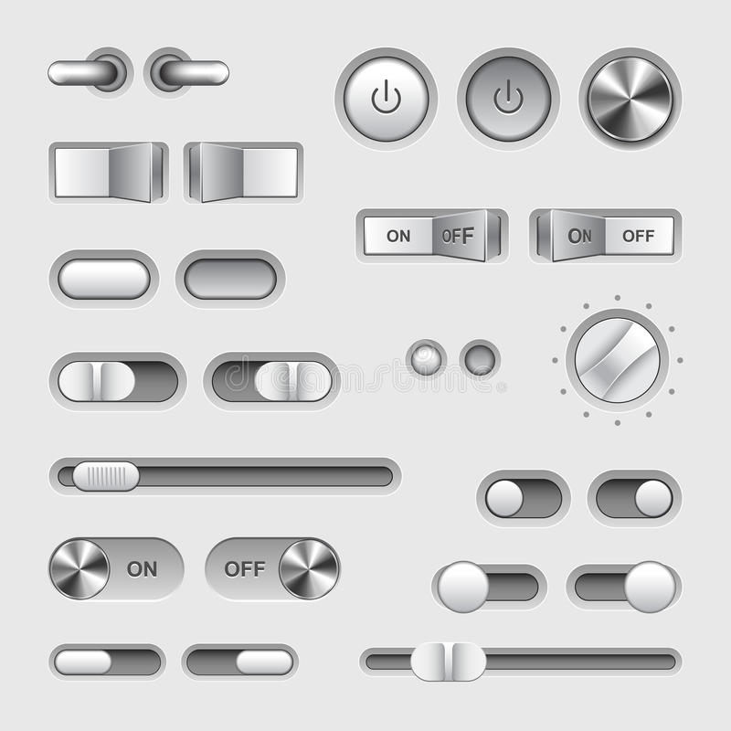 Toggle switch buttons vector set. Toggle switch buttons detailed photo realistic vector set vector illustration