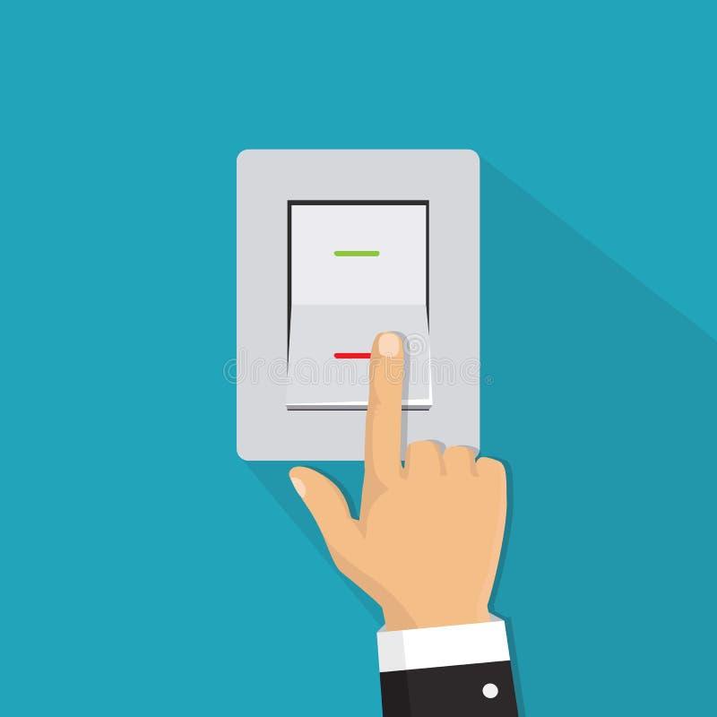 Isometric icon. Hand turning on the light switch. Toggle switch. stock illustration