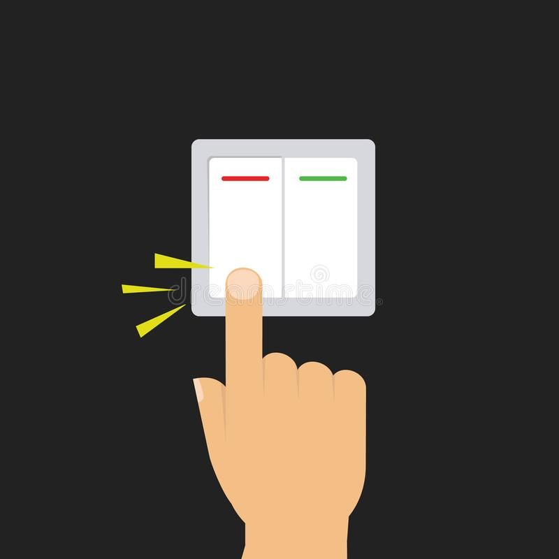 Toggle switch. Electric control concept. Vector graphic design. Isometric icon. Hand turning on the light stock illustration