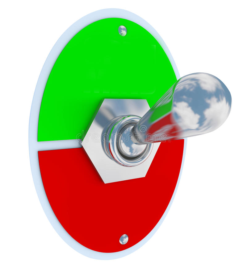 Toggle Switch Flip Up Down On Off Lever Blank Copy Space. Blank toggle switch or lever for flipping on and off, up or down, between two settings, with blank stock illustration